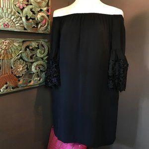 RALPH LAUREN Black Lace Bell Sleeve Dress